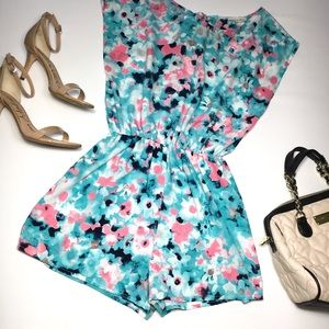 Miley and Molly Romper Teal Blue Pink Floral